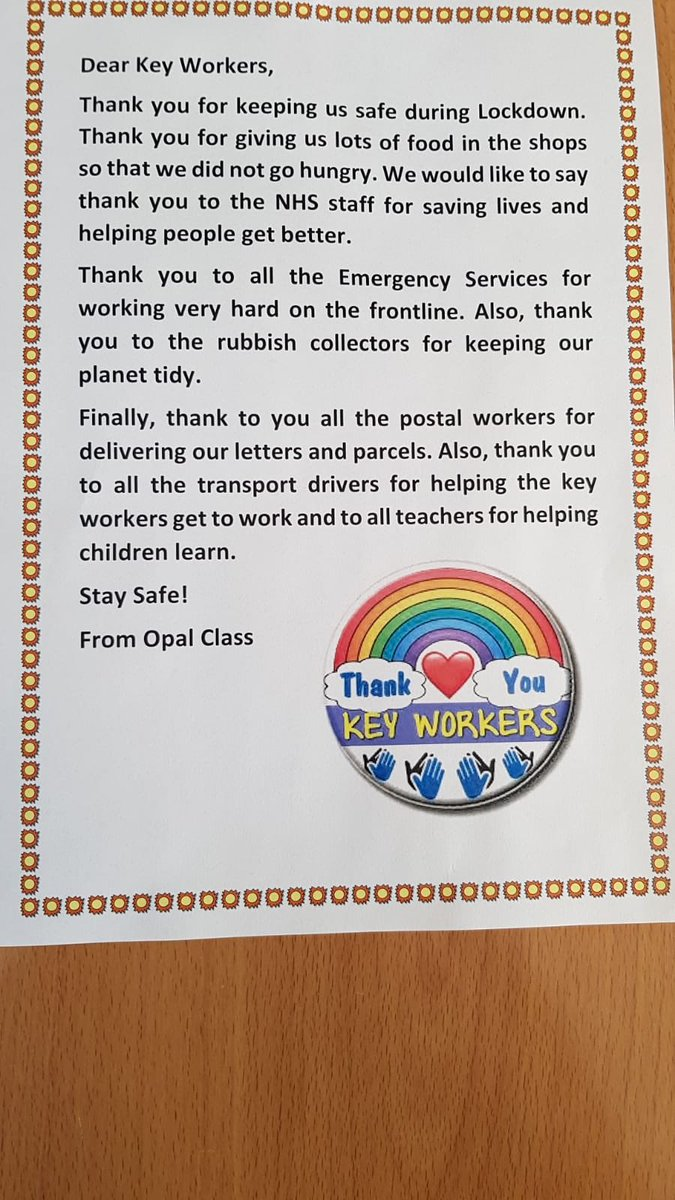 Opal class would like to share their letter of gratitude with the world of Twitter 😃They thought it was important to thank all key workers for their hard work and dedication 👏🏻 The class also wrote an acrostic poem together 😃 #welldone #gratitude #clapforkeyworkers https://t.co/SUOoVApJWH