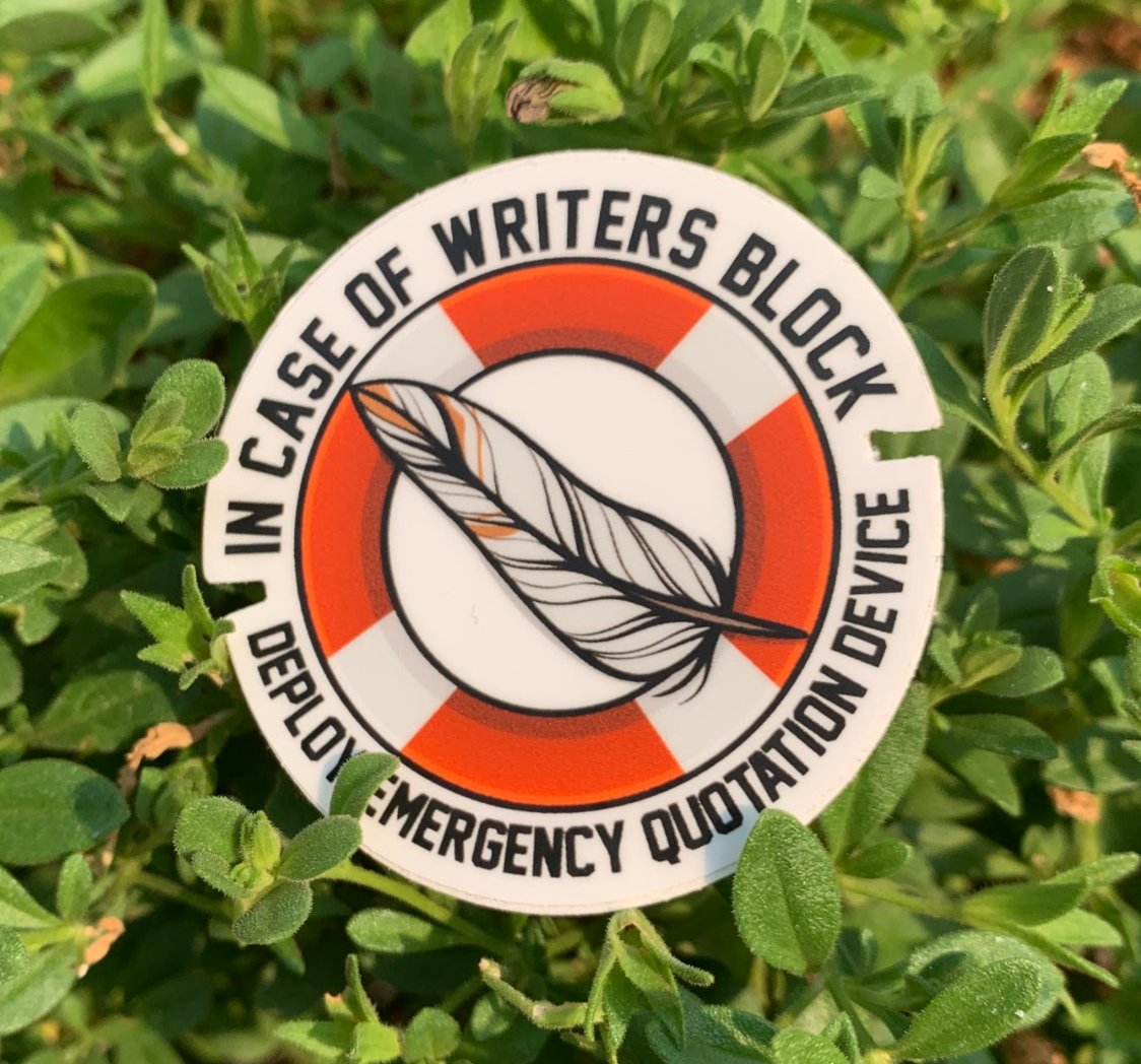 Writing stalled? Having a hard time getting words on the page? Time to deploy the... Emergency Quotation Device.  https://t.co/HVbeIpoM4J  #SnarkPile #stickers #writing #writersblock https://t.co/pfkzSxGiLl