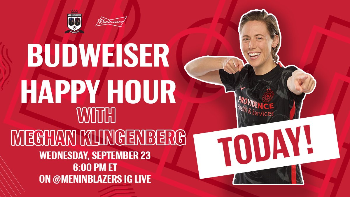 ATTENTION. Its @meghankling day. Meghan joins Rog for this weeks @budweiserusa Wednesday Happy Hour to raise a giant toast to @ThornsFC and the @NWSL. Dont miss it! Follow us on IG to be notified when we go live ➡️ instagram.com/meninblazers/
