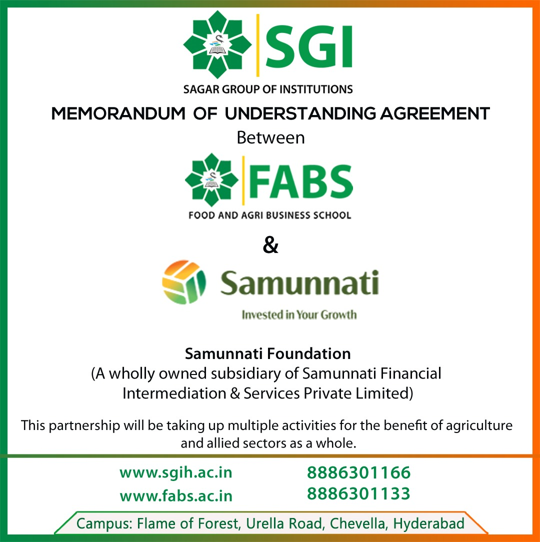Food and Agri-Business School (FABS), part of Sagar group of Institutions (SGI) has signed an MoU with Samunnati Foundation, a wholly owned subsidiary of Samunnati Financial Intermediation & Services Private Limited.  #FABS #SGI #Samunnati #MoU https://t.co/EauEXDBvxB