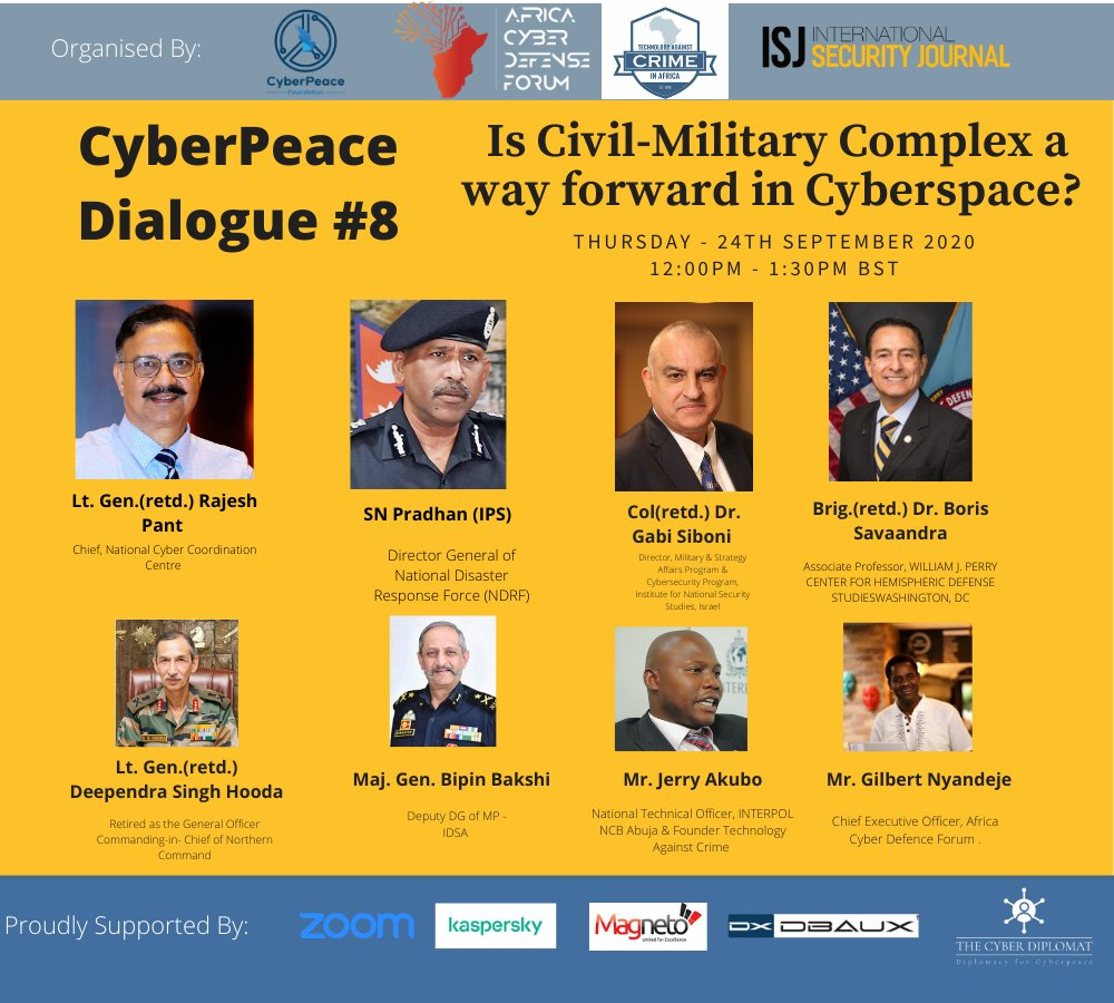 Is Civil Military Complex a way forward in Cyberspace?  Join Us by registering using the following link: https://t.co/0xKXmnoPDf  #cybersecurity #cyber #cyberpeace #privacy #datasecurity #cybercrime #dataprotection #cloudsecurity #cyberlaw #cyberstrategy #databreach https://t.co/p77ITYdx46
