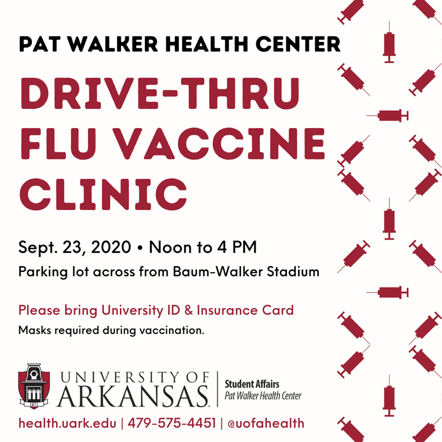 ✨HAPPENING TODAY✨ Pat Walker Health Center (@UofAHealth) is hosting a drive-thru flu vaccine clinic at Baum Walker Stadium Parking lot. No appointment required. Vaccines are limited.   🕛 Noon – 4 PM  ➡️ For students, faculty and staff only. UA ID card/number required. https://t.co/bTEmev0M3b