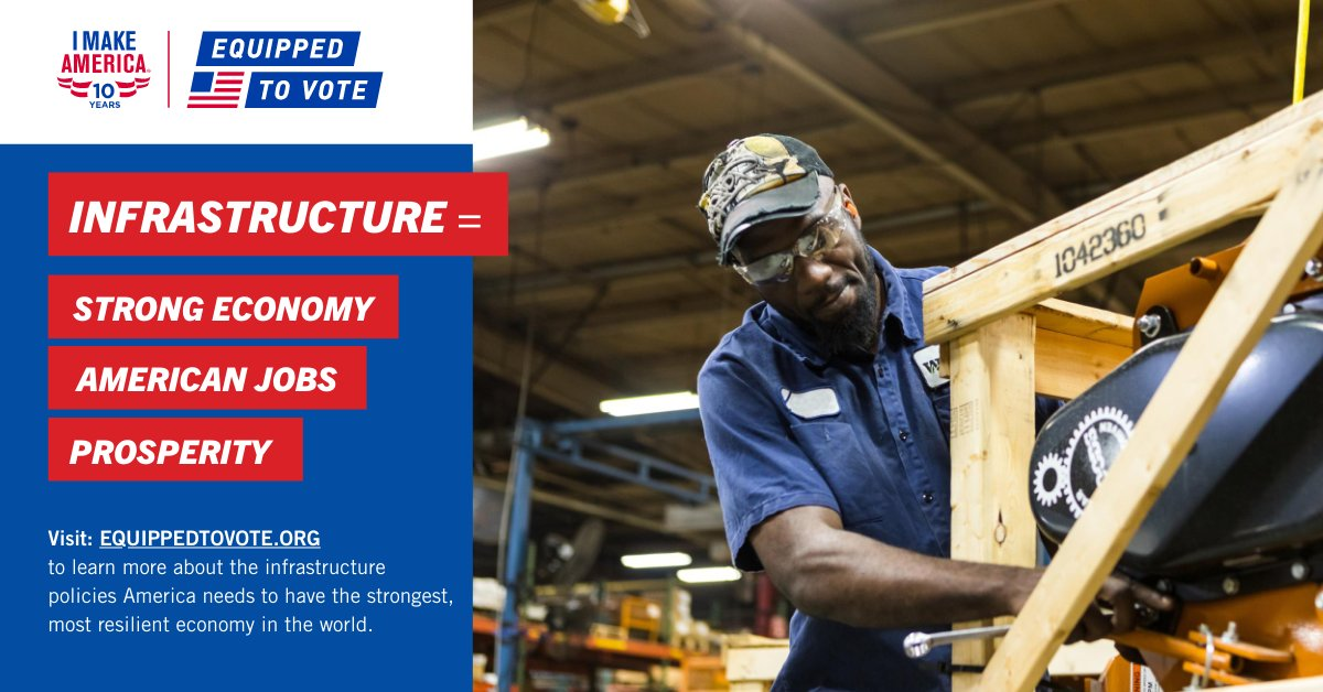 Strong #infrastructure policies = a strong American #economy.   Visit https://t.co/xq6uJWbt8e to learn about infrastructure and other issues impacting our industry this election season and earn chances to win big prizes! #EquippedToVote #IMakeAmerica https://t.co/Y11dyBNLzp
