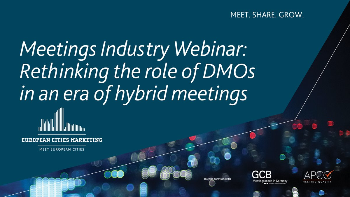 "Don't miss the @europeancities webinar on ""Rethinking the role of #DMOs in an era of hybrid meetings"" 28 Sep 4pm CET.  We're looking forward to presentations from Matthias Schultze @GermanyMeetings, Martin Boyle @iapco and a Q&A session moderated by our very own  @BarbaraJJamison https://t.co/lIjDcIHS0x"