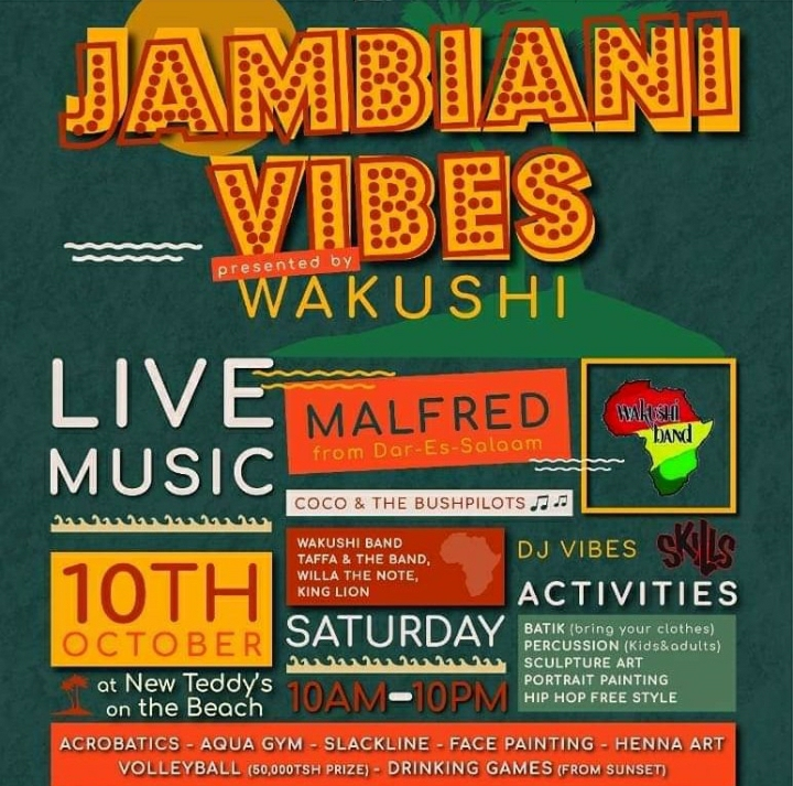JAMBIANI VIBES - 10th Oct Explore great DJ music and activities ensuring you to have fun!  . . . #whizztanzania #tanzania #whizzit #whizztz #dj #music #event #wakushi #facepainting #hennaart #livemusic #aquagym #volleyball https://t.co/p0rZImgdpq