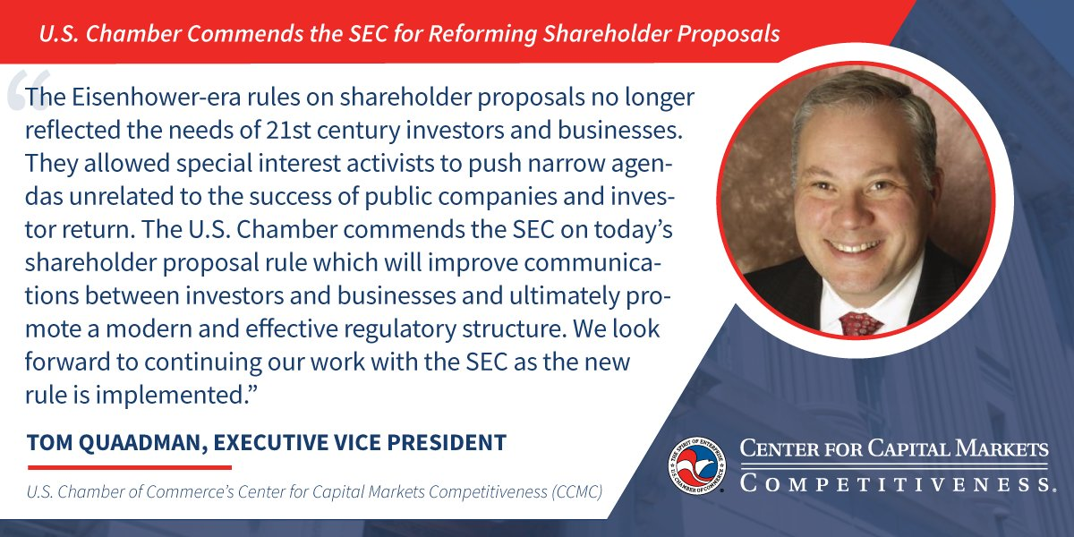 test Twitter Media - .@SEC_News adopted a new shareholder proposal rule which will improve communications between investors and businesses and ultimately promote a modern and effective regulatory structure. @USChamber @USChamberCCMC EVP @QuaadmanT commended them for their work https://t.co/7ThtZMEiJj https://t.co/O10eHJ6rPp