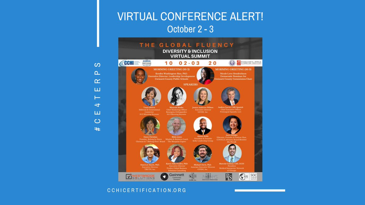 test Twitter Media - THE GLOBAL FLUENCY DIVERSITY & INCLUSION 2-DAY VIRTUAL SUMMIT presented by Westbridge Solutions, LLC October 2-3.  Sponsored by CCHI and Accredited for 7 CEs!   👉🏾 Register today: https://t.co/VpoLv5y797 👈🏾 #globalfluency #GFDI #GFDI2020 #culturalcompetence #ceus #CE4terps https://t.co/Vn15ykv0zA