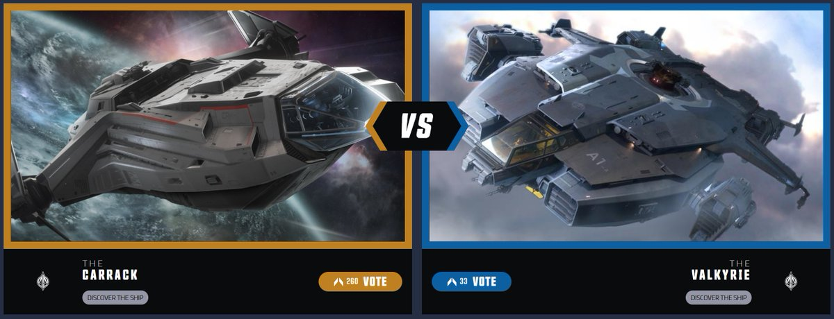 Welcome to the Ship Showdown Finals! Looks like it's the Anvil Showdown this year with the jump charting Carrack going up against the heavily armed Valkyrie.   You decide who wins it all today. #SCShipShowdown  Vote now: https://t.co/PhMNSrGpKp https://t.co/53HkEZjhCS