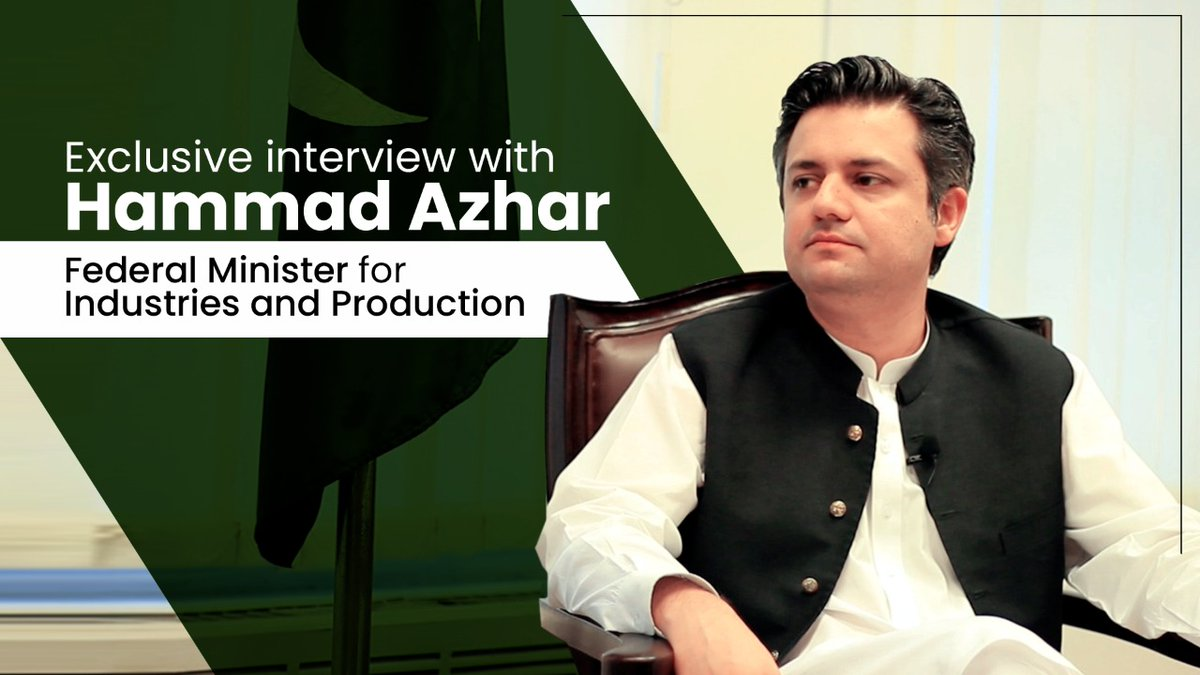 Federal Minister for Industries and Production, @Hammad_Azhar, discusses Pakistan's economy, local industry, tax base broadening measures, post-COVID economic recovery and much more in an exclusive interview.  Watch full interview on YouTube: https://t.co/r83ZVJ7wde https://t.co/hF1nZ5LF9u