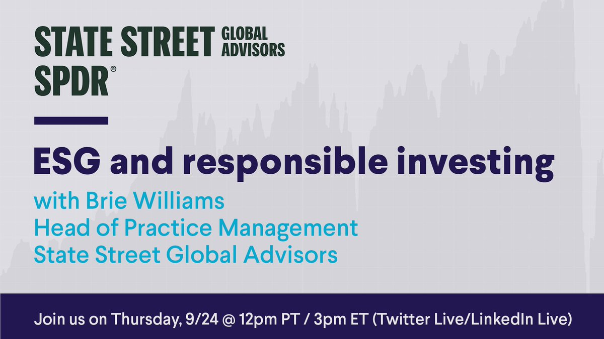 test Twitter Media - Join us for a discussion with Brie Williams from @StateStreetETFs and find out what's happening in the world of #ESG (environmental, social, governance), why it's important, and why #investors are incorporating ESG into their #portfolios. Live on LinkedIn and Twitter this Thurs. https://t.co/ZiLDcGTJwY