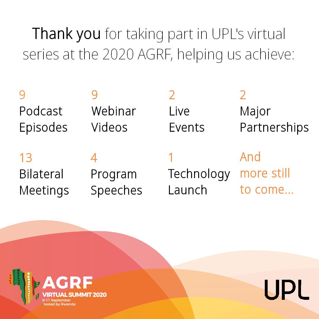 Thank you to everyone who made UPL's work at the #AGRF Virtual Summit a great success! We are proud of the partnerships with @TheAGRF @FIFAfoundation & @AgBiTechUSA.  #UPLInsights roundtable, webinar and podcast series is now online and you can listen: https://t.co/3XQ6oDkqjR https://t.co/fUda4FWXAQ