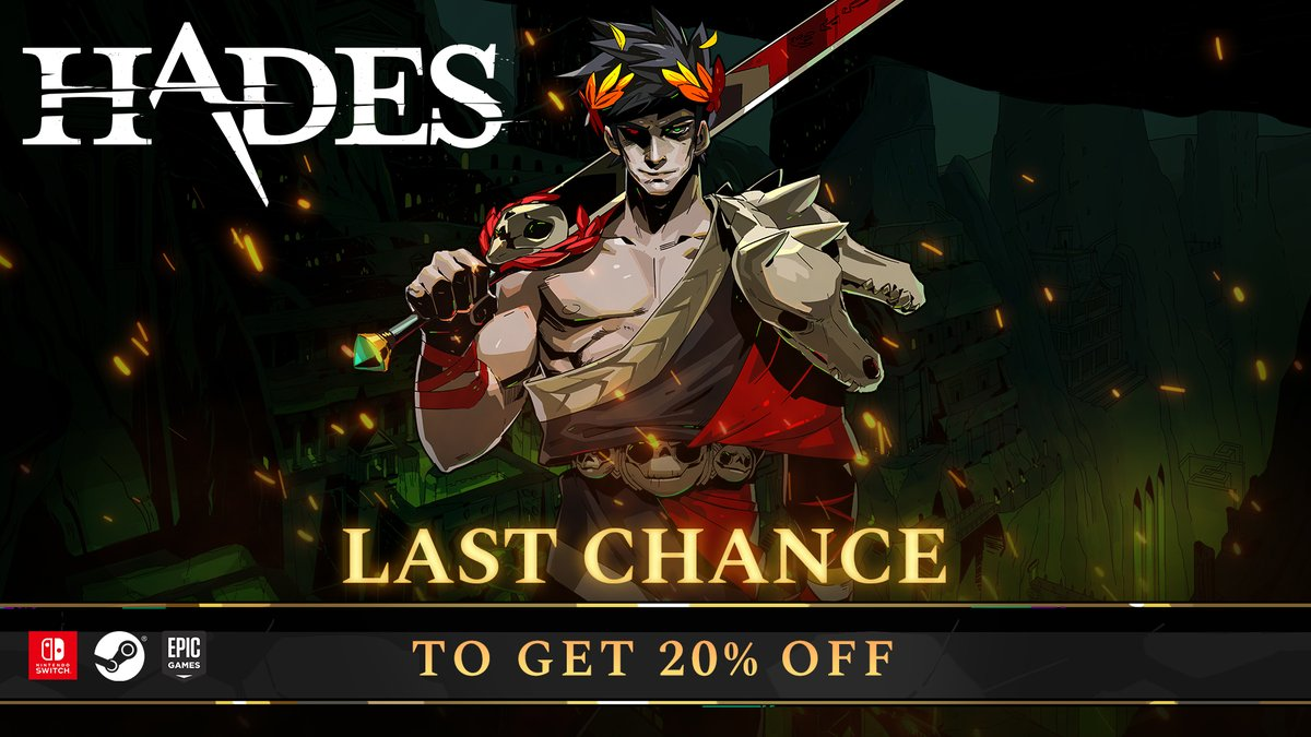 One day left to get #HadesGame for 20% off. Come join us, it's nice and warm down in the Underworld.  🔥Nintendo Switch - https://t.co/80eFPFWkvP 🔥Steam - https://t.co/CVJNxN7p3D 🔥Epic Games Store - https://t.co/CxCqRlLtTb https://t.co/TJAtzANrTT