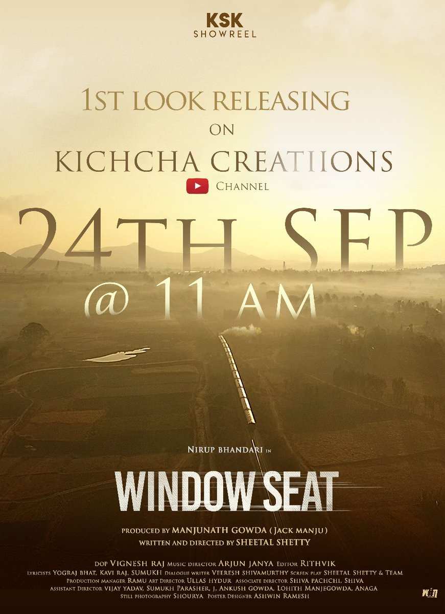 I whole heartedly thank @KicchaSudeep sir , for creating an opportunity for our film's 'FIRST LOOK' to get released on his YouTube channel. This is indeed a kind gesture from his end to support and encourage this project.#windowseatkannadamovie https://t.co/6EpqXwLoKg
