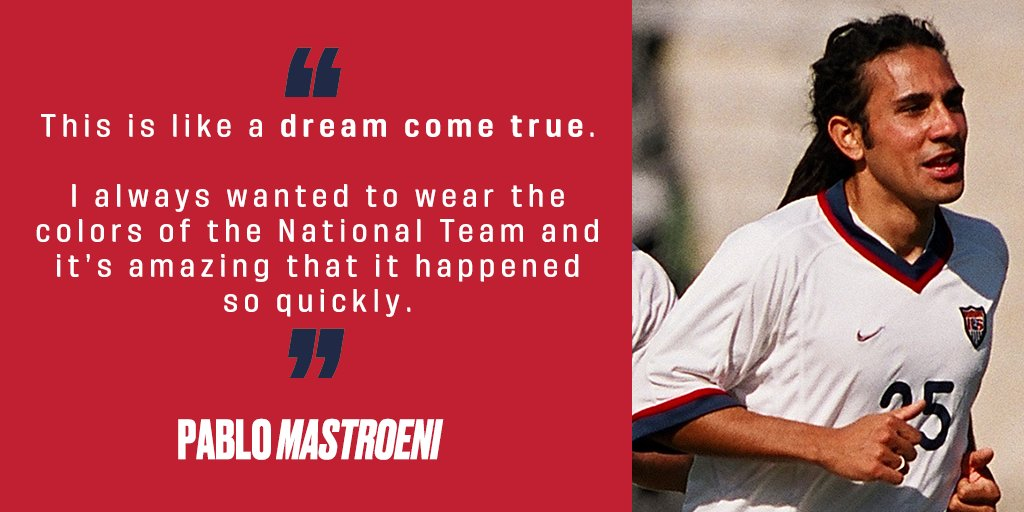 Throughout Hispanic Heritage Month, well be celebrating some of the #USMNTs many #HispanicHeroes. Today: Pablo Mastroeni. Born in 🇦🇷, Pablo gained his 🇺🇸 citizenship in 2001, and realized a dream by making his debut shortly thereafter that year on June 7 vs. 🇪🇨. (1/3)