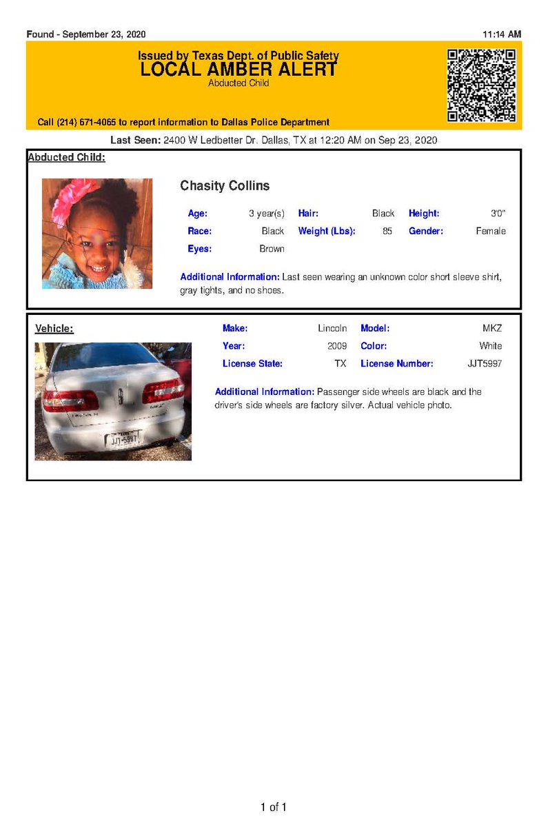 Texas Alerts On Twitter Discontinued Amber Alert For Chasity Collins From Dallas Tx On 09 23 2020 Texas Plate Jjt5997