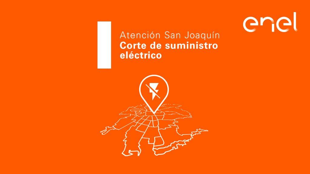 [13:39] Informamos #CorteDeEnergía que afecta sector desde Alcalde Pedro Alarcón hasta Av Lo Ovalle en comuna de San Joaquín. Actualizaremos progresos por esta vía. Puedes generar un reporte por la falta de suministro eléctrico enviándonos #LUZ por mensaje interno. https://t.co/nq7YEDGXTU