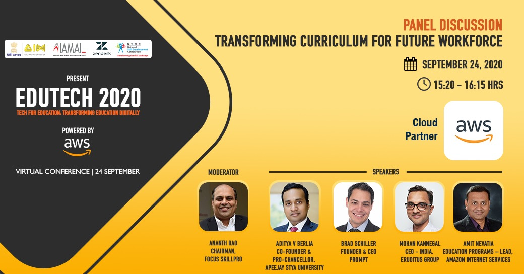 Join in live at 15:20 hrs, tomorrow to hear an interesting panel discussion on 'Transforming Curricular for Future Workforce'  Register now: https://t.co/irO4t6kQzE  #Edutech2020 #edapp #india #highered #remotelearning #student #edutech #online #college #onlinecourses #startup https://t.co/luyX0TfQb4