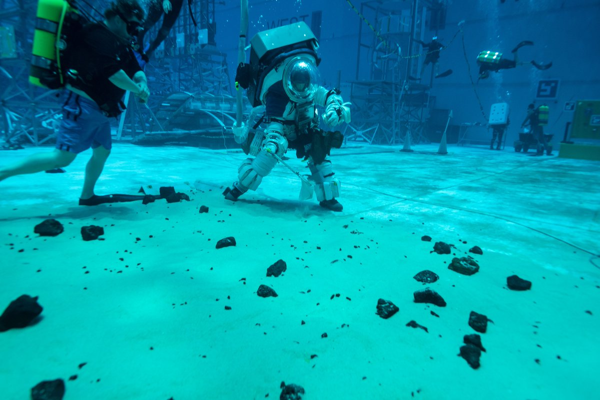 New suit. 🧑🚀 New tools. 🛠️ New mission. 🌙 @NASA_Astronauts are preparing now for moonwalks planned for when we land the first woman and next man on the Moon -- and theyre practicing underwater to evaluate how well train for #Artemis missions. More: go.nasa.gov/3mLTRaf