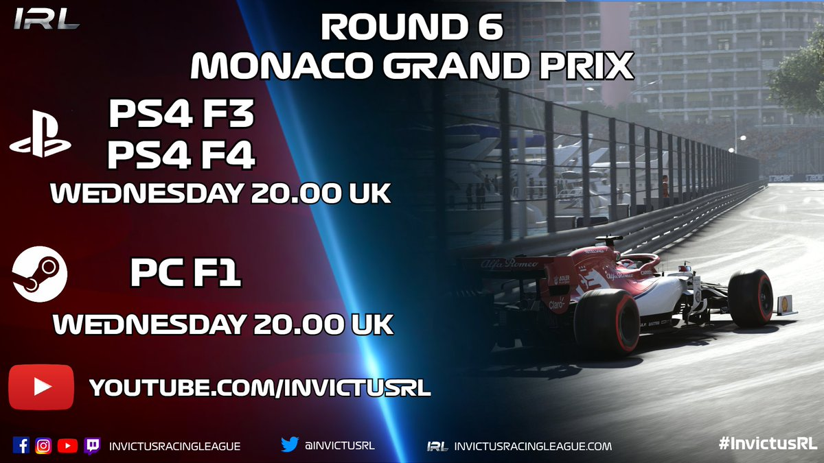 Tonight's broadcast details with another three simultaneous streams for you to choose from All 8PM UK  Details: 🏎 Round 6 🎮 PC F1, PS4 F2, F3 📍 Monte Carlo, Monaco 🗓 23.09.20 🕘 20.00 📽️ https://t.co/Wnvt4VRUC2 #️⃣ #MonacoGP #InvictusRL #F12020 https://t.co/5CyKl4H7rV