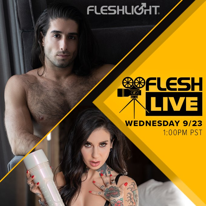 Tune in to FleshLive *TODAY* @ 1pm PST and hang out with our host,  director and one of your favorite