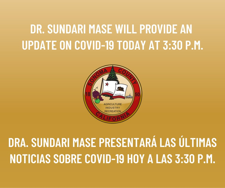 Reminder that Sonoma County Health Officer, Dr. Sundari Mase, will provide a situation update on COVID-19 today at 3:30 p.m. on Facebook Live. A Spanish language version of the presentation will be posted to Facebook following the live broadcast. https://t.co/RRfeRnv9EL