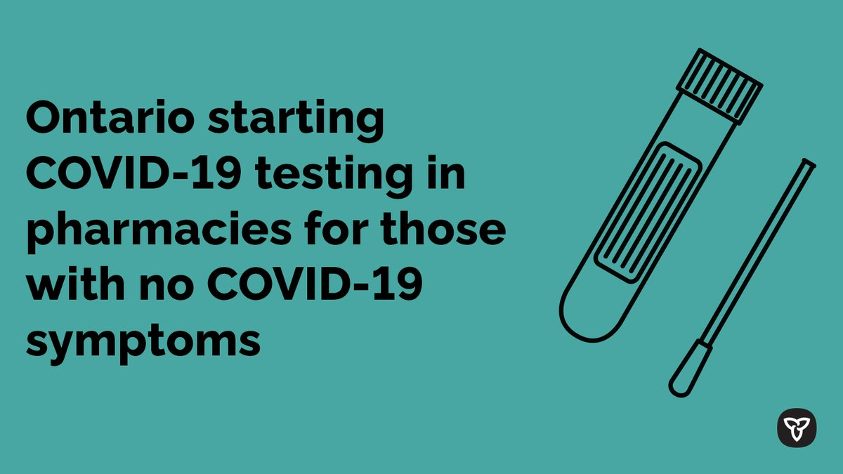 As part of the #COVID19 fall preparedness plan, Ontario is expanding access to COVID-19 testing to pharmacies starting Sept 25. This will prepare the health system & support frontline care providers' readiness for a second wave of COVID-19. https://t.co/tySrym9ad8 https://t.co/VmuDK7U7Sk