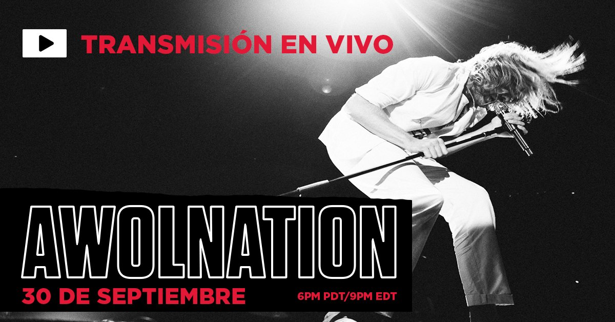 Disfruta a @awolnation en vivo desde The @wiltern el 30 de septiembre a las 20H en Mexico / Colombia / Peru y 22H en Brasil / Chile / Argentina con una presentación virtual en vivo. Tickets a la venta en https://t.co/DbYEyBi9JI. https://t.co/vBGRcL2O1u