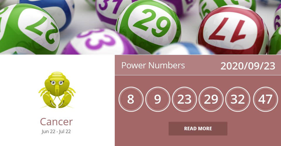 Power Numbers for Sep 23, 2020 => Read the rest at: https://t.co/3WSQyreBP7 How did we do? #Cancer #CancerLottery #CancerZodiac https://t.co/b4WWtMjKXG