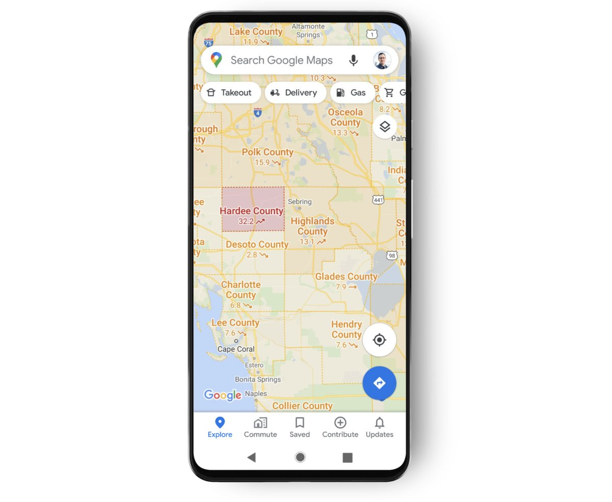 Google Maps adds an overlay of COVID-19 case trends