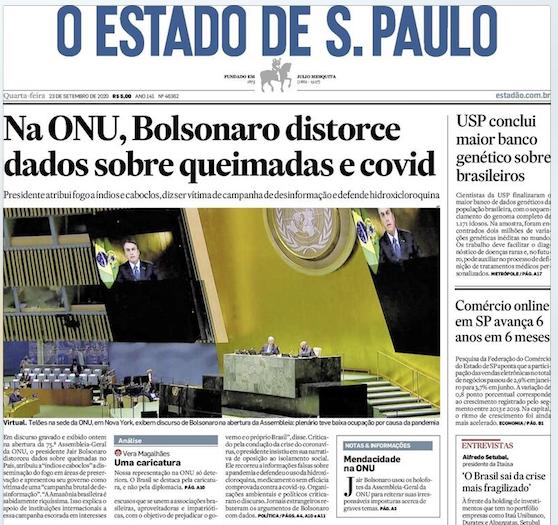 """Eva Uviedo on Twitter: """"""""Mente"""" na manchete eu acho bem pouco provável de ser usado, mas até o Estadão conseguiu formular melhor: """"Na ONU, Bolsonaro distorce dados sobre queimadas e covid""""…"""