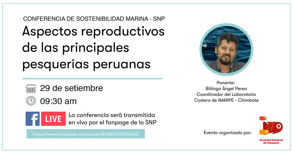 #CientíficaSNP Este martes 29 de setiembre, apúntate a nuestro #FacebookLive para la charla con el biólogo Ángel Perea, quien expondrá sobre los aspectos reproductivos de las principales pesquerías peruanas.   Link del evento👉 https://t.co/45sQ9SixTh https://t.co/2nzKFyiQMy