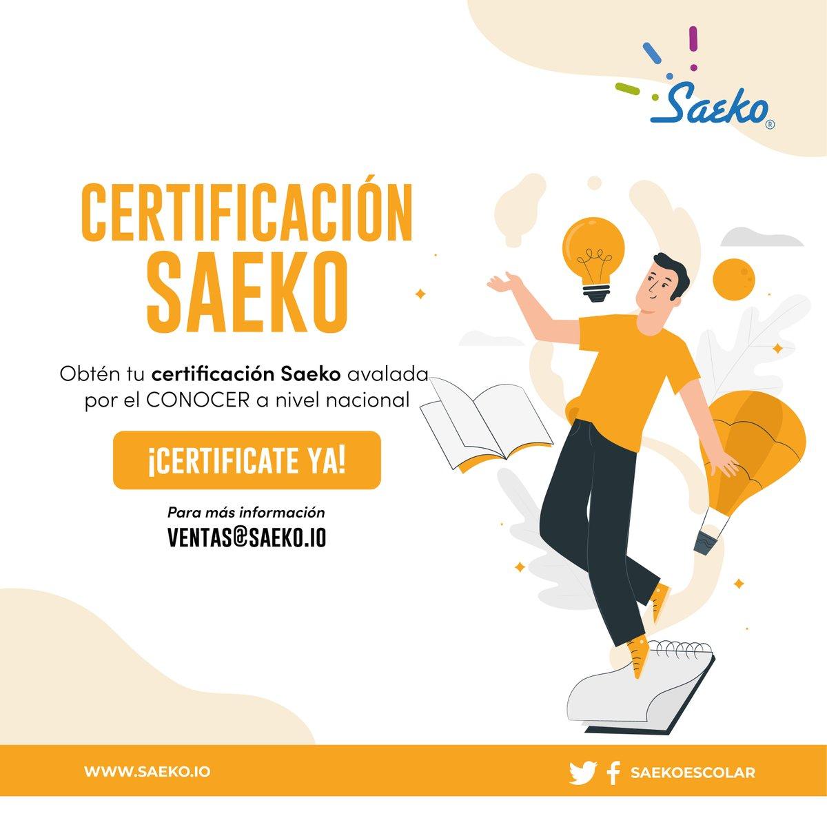 ¿Eres socio @ARSEE_AC?  Obtén tu certificación SAEKO avalada por el #CONOCER a nivel nacional pagando el 50% para acceder al material disponible para certificarte y el 50% restante liquidalo al momento de terminar el curso ¡Aprovecha!  #Certificate #SociosArsee #CongresoARSEE2020 https://t.co/RxpHyYYnty