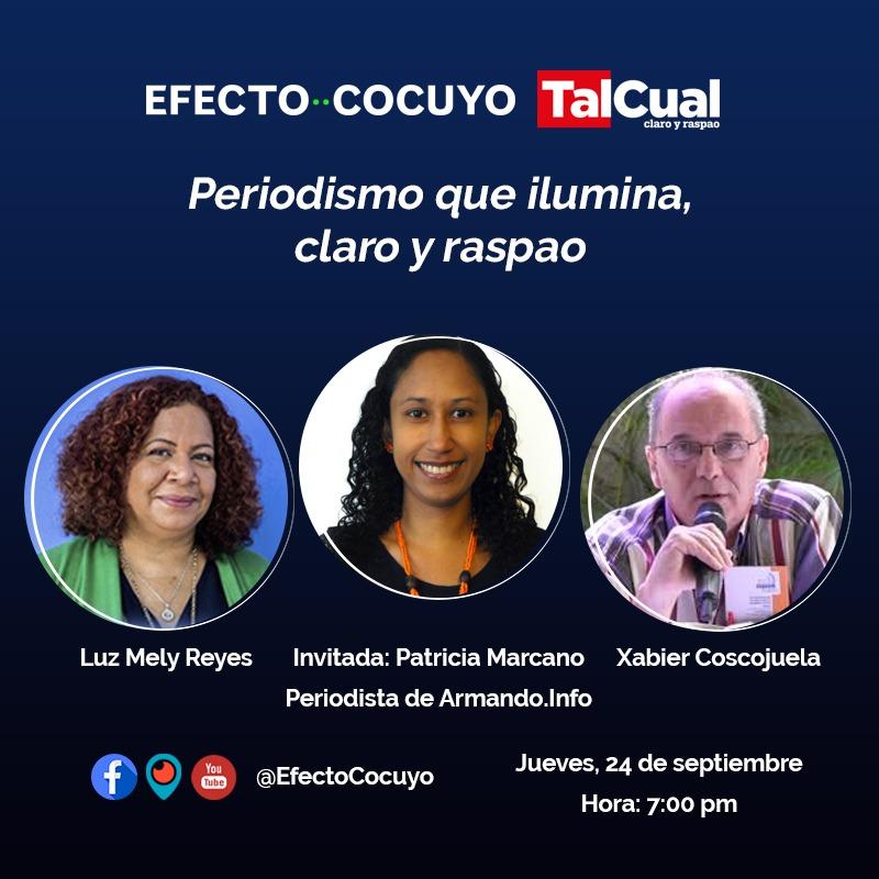 Mañana nuestra directora @LuzMelyReyes, el director de @DiarioTalCual, @XabierCosco, y la periodista de @ArmandoInfo, @Pmarcano11, analizarán la situación política del país en #CocuyoClaroyRaspao  ¡Transmitiremos a las 7:00 pm, por #FacebookLive, #YouTube y #Periscope https://t.co/jDCcTg4Jp9