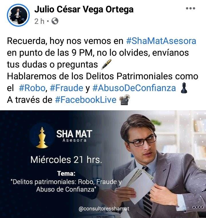 Recuerda, hoy nos vemos en #ShaMatAsesora en punto de las 9 PM, no lo olvides, envíanos tus dudas o preguntas 🖋️ Hablaremos de los Delitos Patrimoniales como el  #Robo, #Fraude y #AbusoDeConfianza ♟ A través de #FacebookLive 📽️ https://t.co/HuYIvzKuGU