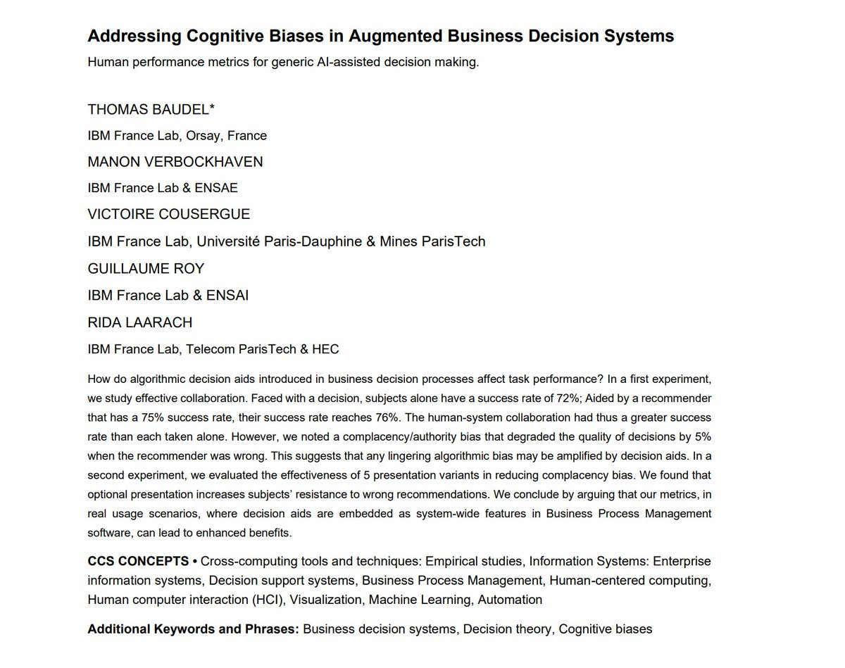 """[#FridayWiMLDSPaper 📜 curated by @MrsCaroline_C] """"Addressing Cognitive Biases in Augmented Business Decision Systems"""" by Thomas Baudel, Manon Verbockhaven, Guillaume Roy, Victoire Cousergue, Rida Laarach  #WiMLDSParis #WiMLDS"""