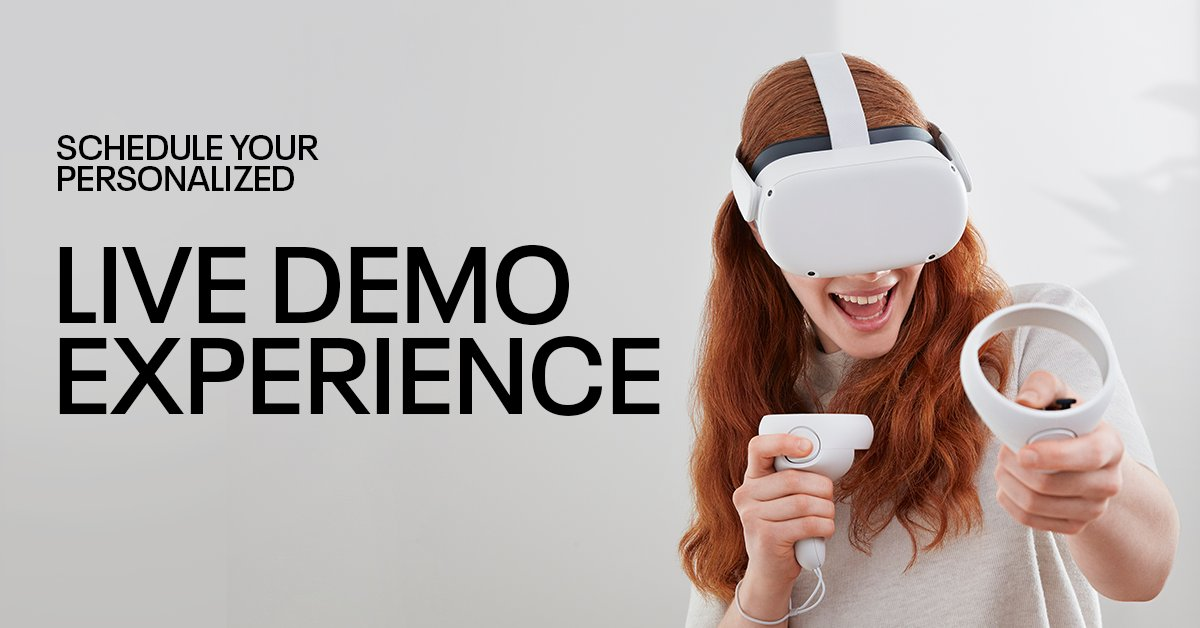 Ready to give Oculus Quest 2 a try? Sign up now for a customized demo from a Product Experience Specialist. From instant demos to scheduled one-on-one demos, you can find the experience that works best for you. Explore now: bit.ly/FRLdemos