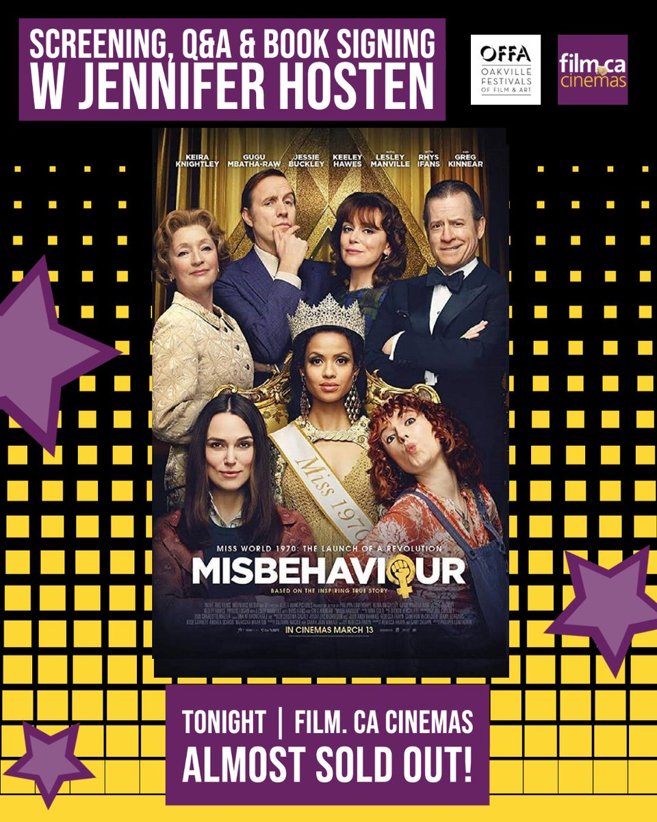 Join us tonight for the CANADIAN PREMIERE OF MISBEHAVIOUR  presented by @theOFFA/ Unobstructed View /Film.ca Cinemas 🎥  It's almost sold out!  Buy tickets NOW: https://t.co/cYKOdxNrEA ($25 each + tax includes $10 donation to I Am a Girl Canada) 🎟  #misbehaviour #OFFA https://t.co/cX5tBTgu4L