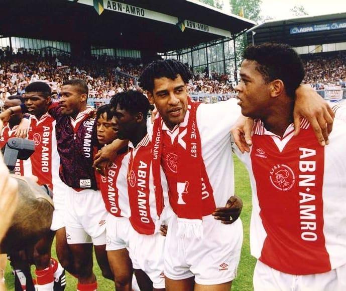 Nwankwo Kanu, Winston Bogarde, Edgar Davids, Clarence Seedorf, Frank Rijkaard and Patrick Kluivert (Ajax 1995)  #footballmemories #NwankwoKanu #EdgarDavids #ClarenceSeedorf #Seedorf #Rijkaard#ajax #afcajax #amsterdam #90sfootball #eredivisie #overmars #wijzijnajax #ForTheFuture https://t.co/X5kLhmlY5m