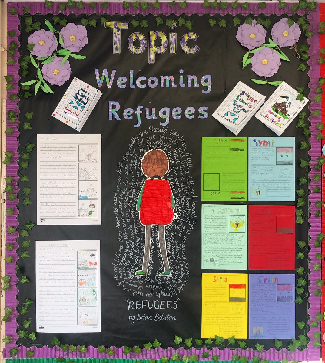 P6/7 made 'Refugee Welcome Booklets' for children starting Scottish schools, wrote fact files all about Syria and retold Ahmet's refugee story from their class novel to create this effective display. They have also created some effective artwork over this term too. Well done! https://t.co/KUeDrNRp2K