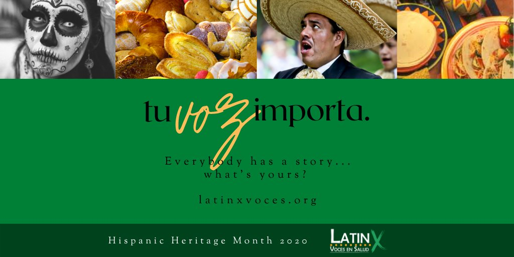 When we get to share our story, we come closer to embracing our identidad. Join @vocesensalud in their storytelling project. Submit your story today: https://t.co/JRbYJlMaU1 #nuestravoz #nuestrafamilia #nuestracultura #mivoz #mystory #HispanicHeritageMonth https://t.co/HDo4qYCTLn