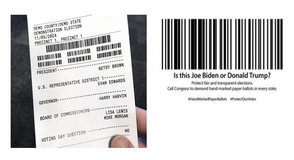 7/ At the polls, Ds should know the difference between barcode voting (marked with a touchscreen) and #HandMarkedPaperBallots (marked by hand w/ a pen). With barcode voting, the barcode (which voters can't read) is the only part counted as your vote. https://t.co/VurA7PJYg5