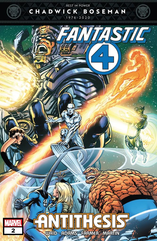 The Silver Surfer leads the Fantastic Four in a mad race to find the missing Galactus. Only he has the power to defeat Antithesis! https://t.co/izu3I15xct  W: @MarkWaid A: @nealadamsdotcom & #MarkFarmer C: #LauraMartin L: @JoeCaramagna E: @TomBrevoort https://t.co/YjDG4e6cuz