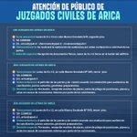 Image for the Tweet beginning: Juzgados civiles de Arica informan