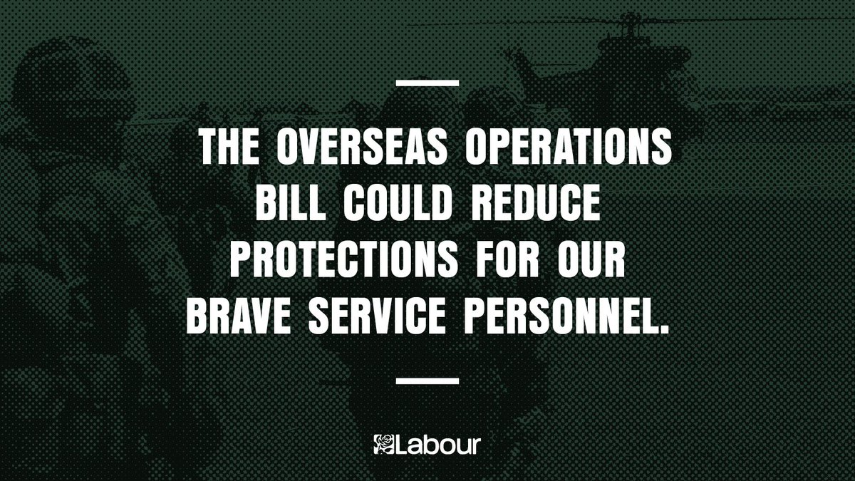 The Tories just voted for a bill that puts our troops at risk.  Labour will fight to protect our armed forces and their right to justice. https://t.co/mysUVhN5ms