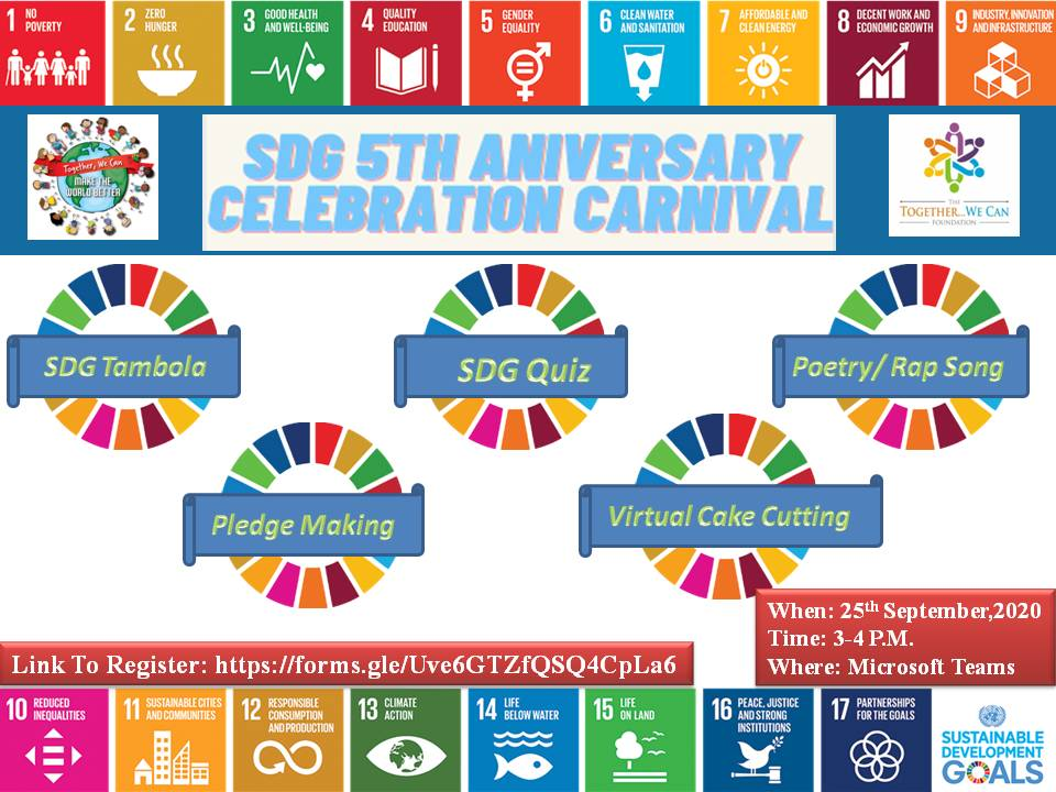 """""""Leave no one behind"""" is the motto of theSustainable Development Goals!!! Let's celebrate 5 th Anniversary Celebration of launch of SDG's n gear up for agenda 2030. #Ahlconintl #SDG #globalgoals #UNODC @ashokkp @y_sanjay @pntduggal  @samarthpathak   @AbhilashaTochi @CharuPragya https://t.co/7tuT1zEsuX"""