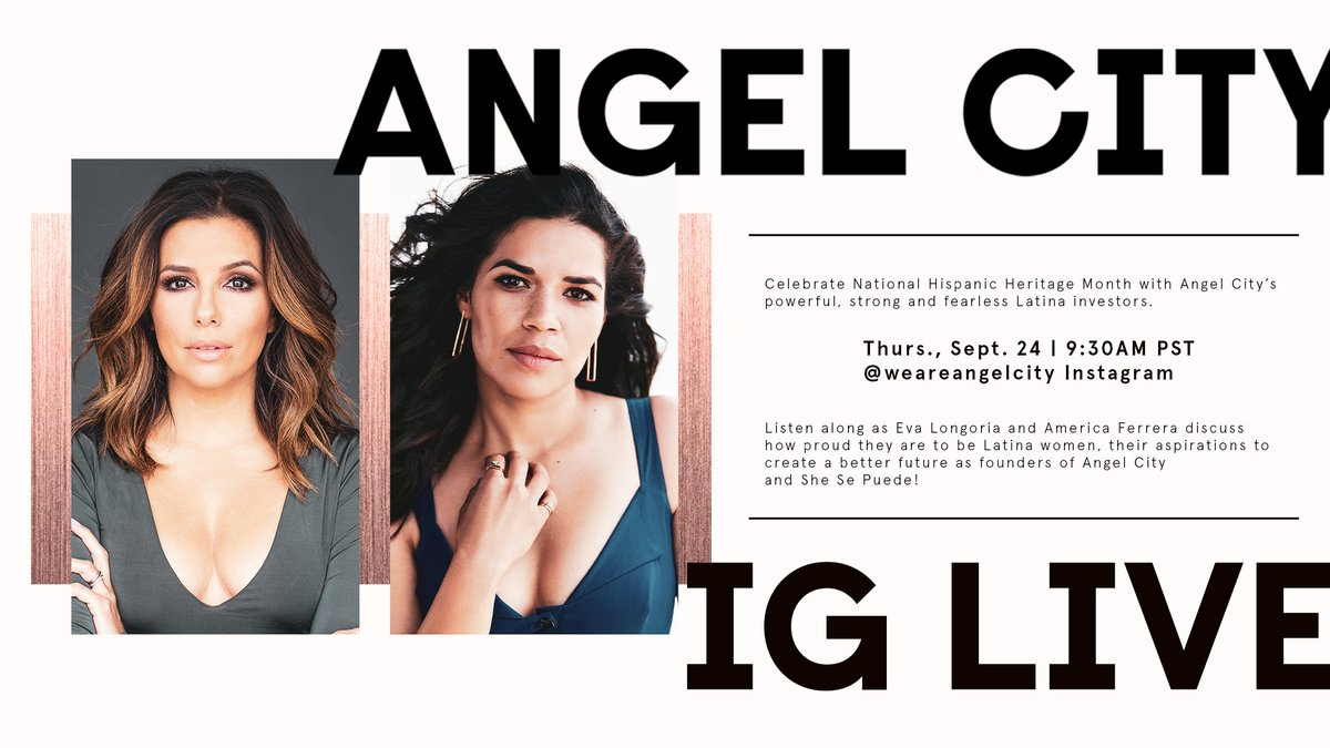 Its happening 😍 In honor of #HispanicHeritageMonth, Angel City founders @EvaLongoria & @AmericaFerrera are coming together to discuss their Latinx roots, @she_sepuede + so much more. Set 👏 your 👏 reminders 👏 to tune-in live!