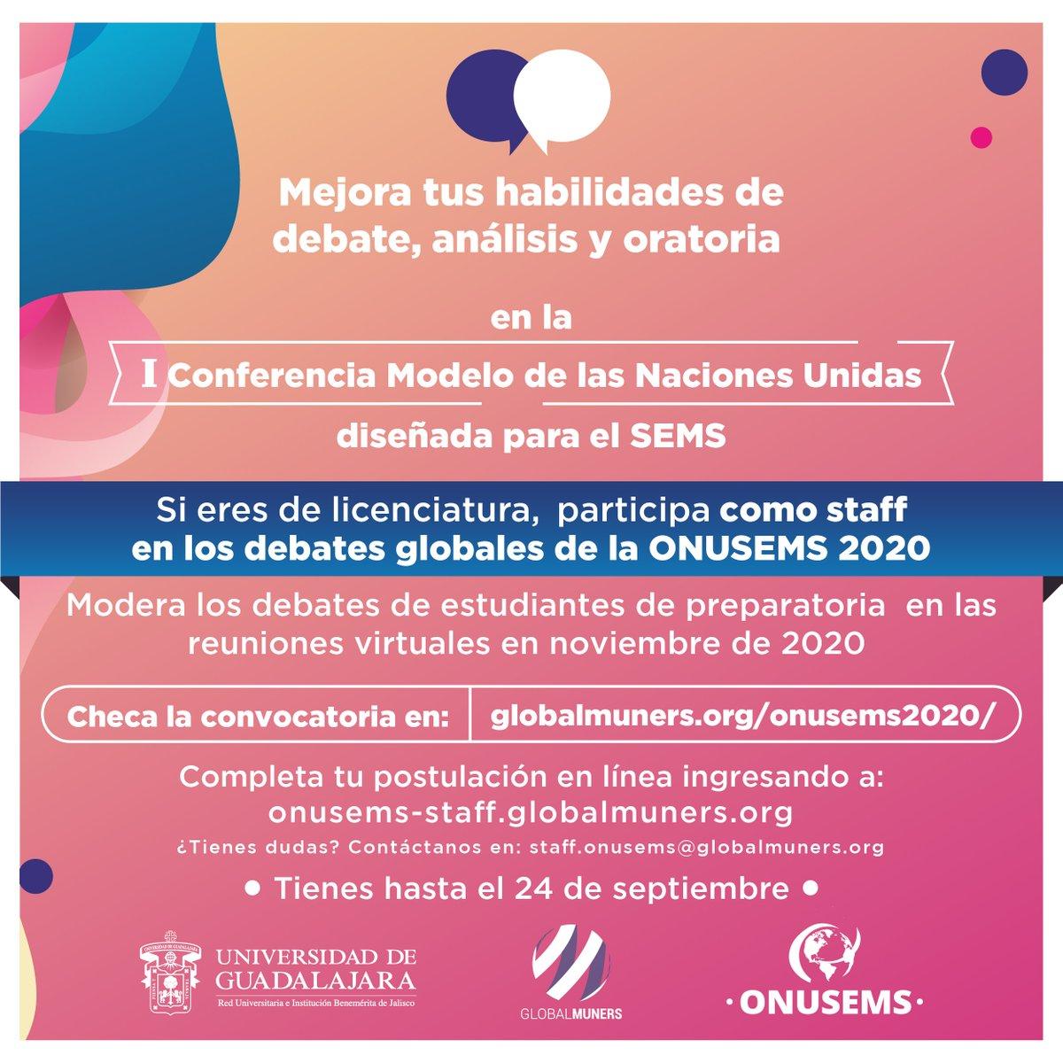¡Aún estás a tiempo! 📢 Hoy es el último día para registrarte como staff en #ONUSEMS2020, nuestra primera Conferencia Modelo de las Naciones Unidas. 🙋♀️🙋♂️  Inscríbete en ➡️ https://t.co/OsXqGbCY0M https://t.co/FCjiYesNtz