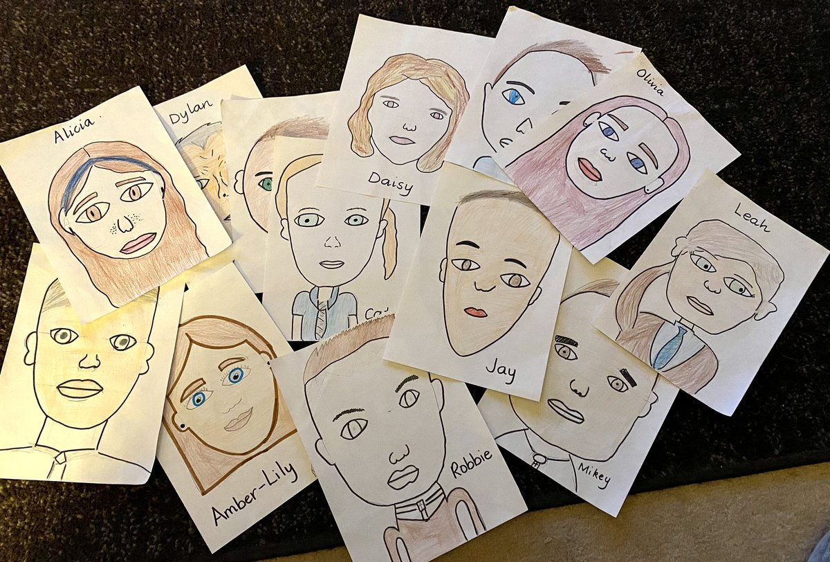 The boys and girls have been creating self portraits to display around the school. We can't all be together for a while but it's always lovely to see so many happy faces as you walk round the school #HelloP7b #SchoolFamily https://t.co/vdOWreTZ8W