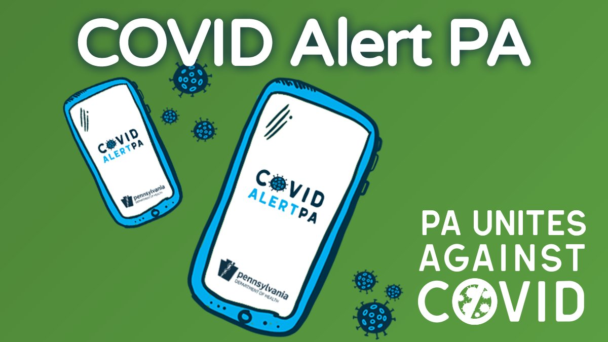 An illustration of two cell phones displaying 'Covid Alert PA' with coronavirus bodies in the background and text at the bottom reading PA Unites Against COVID.