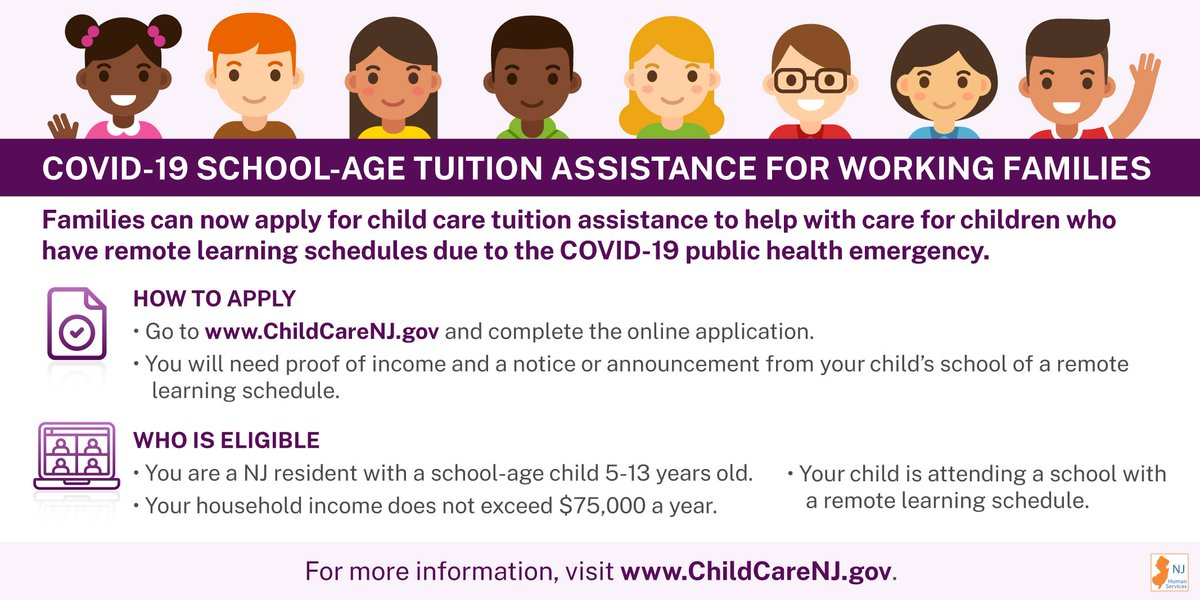 Are you in need of child care due to #COVID19?   If you:  📝are a NJ resident  💻have a child attending school remotely  💵have a gross household income > $75,000   You may be eligible for NJ's School-Age Tuition Assistance Program.   ➡️Apply here: https://t.co/JvVyql6UVL https://t.co/YVnElPY2xo